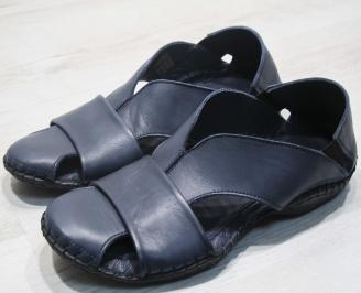 Мъжки сандали естествена кожа  тъмно сини