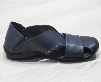 Мъжки сандали естествена кожа  тъмно сини 3