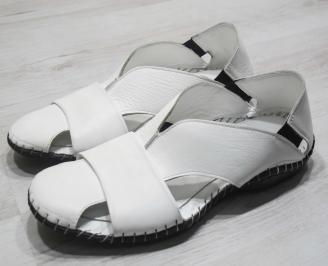 Мъжки сандали естествена кожа  бели