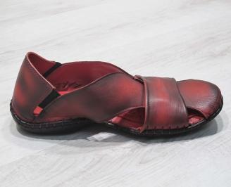 Мъжки сандали естествена кожа  червени 3