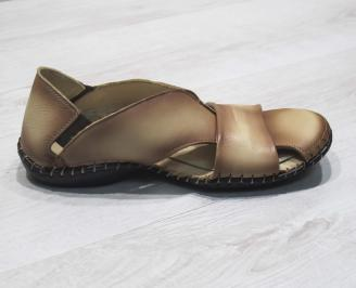 Мъжки сандали естествена  кожа бежови 3