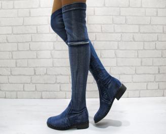 Дамски ежедневни ботуши   сини от текстил
