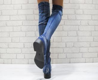 Дамски ежедневни ботуши   сини от текстил 3