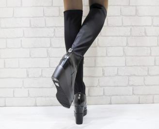 Дамски ботуши на платформа черни от еко кожа и сатен 3