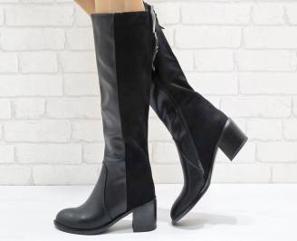 Дамски ежедневни ботуши черни от еко кожа/велур