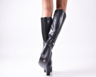 Дамски елегантни  ботуши еко кожа черни 3