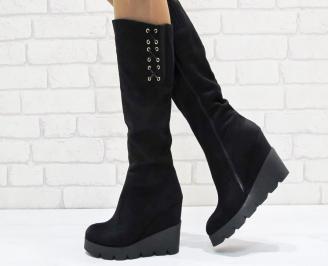 Дамски  ботуши на платформа  еко велур черни