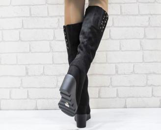 Дамски  ботуши на платформа  еко велур черни 3