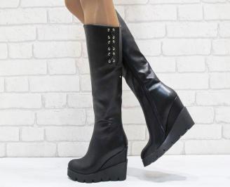 Дамски  ботуши на платформа  еко кожа черни