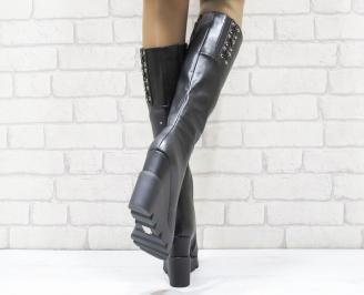 Дамски  ботуши на платформа  еко кожа черни 3