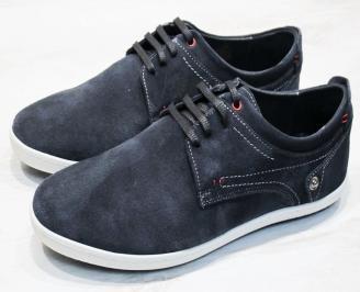 Мъжки спортно елегантни обувки естествен велур сини