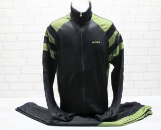 Мъжки спортен екип памук черно/зелено