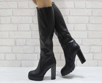 Дамски елегантни ботуши черни еко кожа