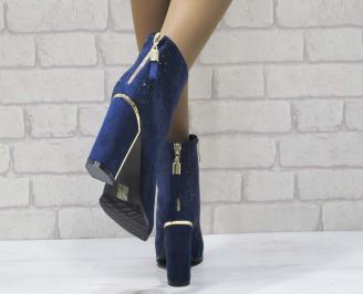 Дамски елегантни  боти еко велур сини 3