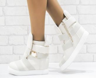 Дамски обувки  на платформа еко набук бежови