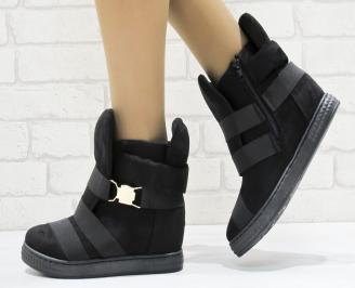 Дамски обувки  на платформа еко набук черни