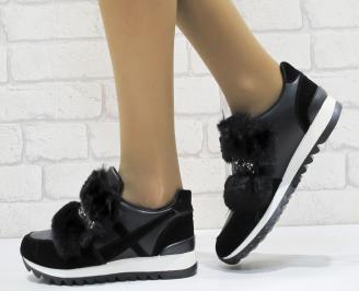 Дамски обувки  на платформа еко кожа / еко набук черни