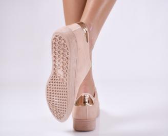 Дамски обувки равни еко кожа розови 3