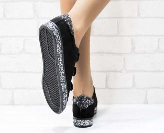 Дамски  обувки  черни еко велур 3
