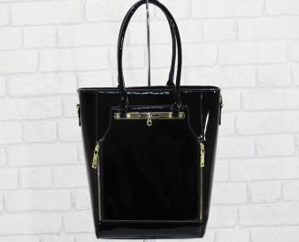 Дамска чанта еко кожа/лак черна