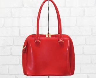 Дамска чанта еко кожа/еко набук червена