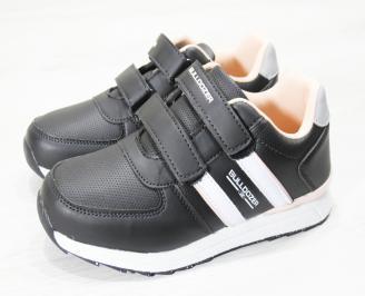 Детски маратонки за момичета еко кожа черно/розово/сиво