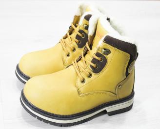 Детски  боти Bulldozer  еко кожа жълто/кафяви