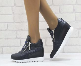 Дамски обувки  на платформа естествена  кожа  сини