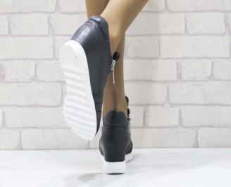 Дамски обувки  на платформа естествена  кожа  сини 3