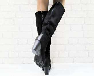 Дамски  елегантни ботуши черни от еко велур 3
