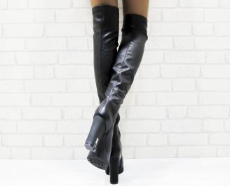 Дамски елегантни ботуши черни еко кожа 3