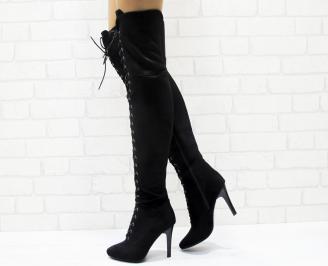 Дамски елегантни ботуши  еко велур черни