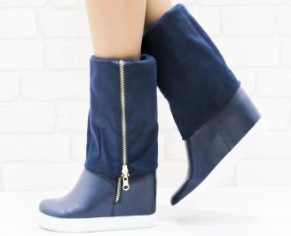 Дамски  ботуши на платформа сини еко кожа/еко велур