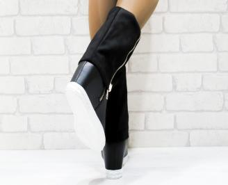 Дамски  ботуши на платформа  черни еко кожа/еко велур