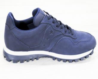 Мъжки спортни обувки естествен набук тъмно сини