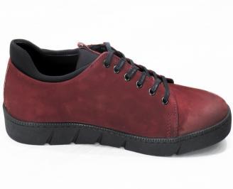 Мъжки спортни обувки естествен набук червени