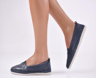Дамски  обувки  сини естествена кожа