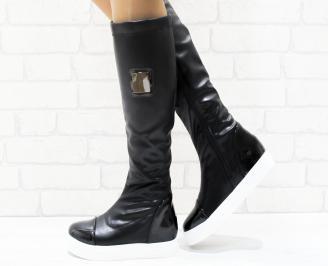 Дамски ежедневни ботуши черни от еко кожа/лак
