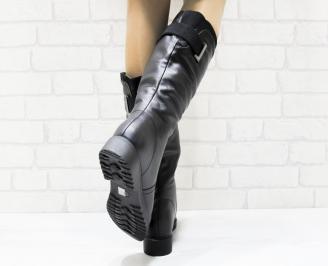 Дамски ежедневни ботуши черни еко кожа 3