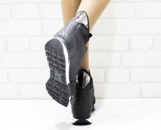 Дамски спортни обувки еко кожа/текстил черни 3