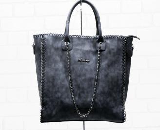 Дамска чанта еко  набук черна