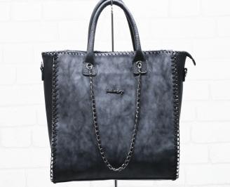 Дамска чанта еко кожа/ набук черна