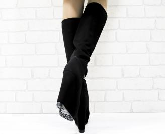 Дамски  ботуши на платформа  черни еко набук
