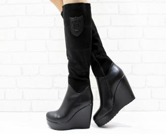 Дамски  ботуши на платформа  черни еко кожа/велур