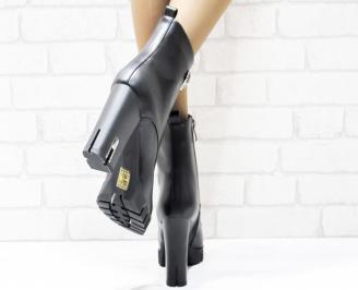 Дамски елегантни боти  черни  от еко кожа 3