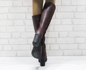 Дамски ботуши естествена кожа бордо