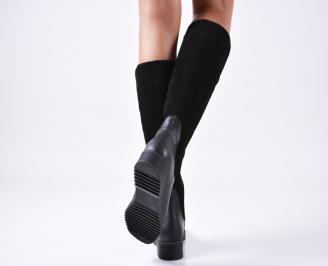 Дамски ботуши естествена кожа/велур черни