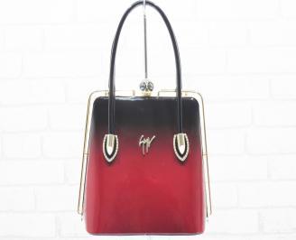 Дамска чанта черно/червено еко кожа/лак