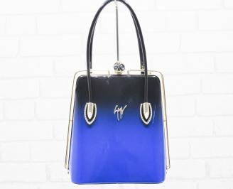 Дамска чанта черно/синя еко кожа/лак