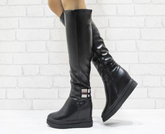 Дамски  ботуши на платформа  черни еко кожа
